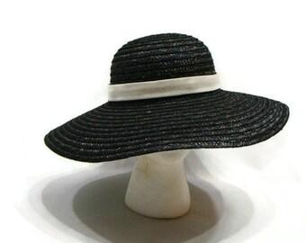 Vintage Black and White Straw Hat Vintage Hats For Women Black Straw Hat Womens Vintage Black Straw Hat Vintage Ladies Hats