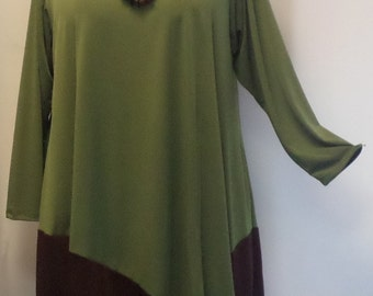 Coco and Juan, Plus Size Tunic, Lagenlook Olive and Brown Angel Tunic Top, Size 1  (fits 1X,2X)   Bust 50 inches