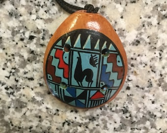 Vintage Native American Wooden Painted Pendant Necklace