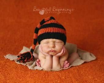 Halloween Striped Elf Hat Baby Photo Prop Jack Lantern Newborn Tailed Beanie Black Orange Going Home Outfit Fall Knit Infant Stocking Cap