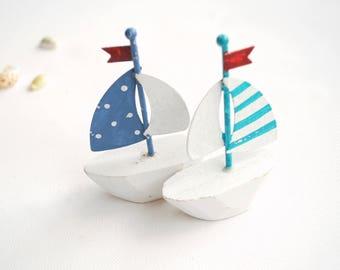 Sail Boat Ship Weddings Decor Cake Topper, Nautical Beach Mermaid Wedding Party, Sailing Cake Topper, Blue Boats Cake Topper, Wood Boat