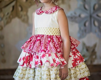 Girls Christmas Dress - Girls Holiday Dress - Girls Ruffle Dress - Collar - Matching Dress - Red Gold Christmas Dress - Holiday Party Dress