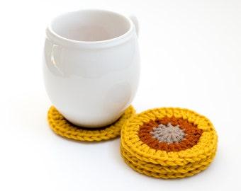 READY TO SHIP - Crocheted Wool Coasters, Yellow & Orange Granny Square Coaster Set - Caledon Coasters