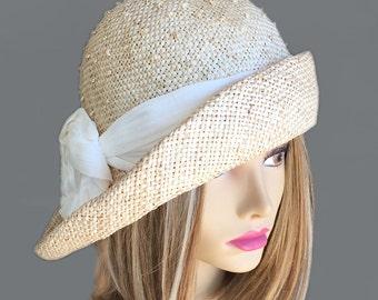 Ann, women straw hat with Ivory silk dupioni trim, Downton Abbey era, millinery hat, summer cloche hat