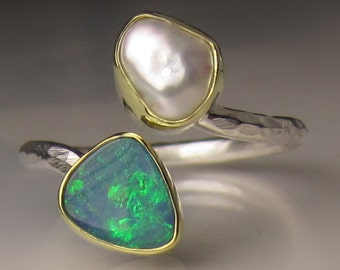 Boulder Opal and Pearl Ring, 18k Gold and Sterling Silver, Open Face Ring, Opal Bypass Ring, Size 5.75-6