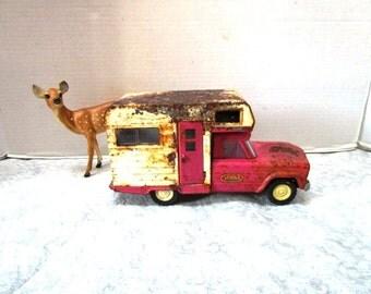 Vintage 1960s Tonka Toy Pink Truck w/ Camper, Rusty Chippy, Pinkalicious Jeep Commander Truck, Pressed Steel, Swing Door, Slider Windows