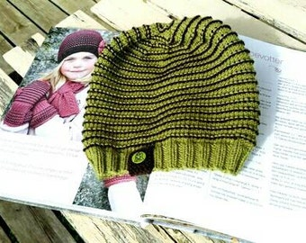 Green/Brown hat- size 4/6y (100% merino)