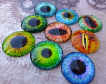 free UK postage 10 pcs 25mm Domed Round Cabochons Eyes, eye cabochon