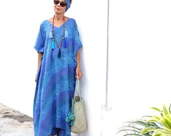BATIK, Caftan, Kaftan, Maxi, Resort Wear, Bohemian, Island Style, Tropical Clothing, Beach Dress, Coverup, 3 Sizes