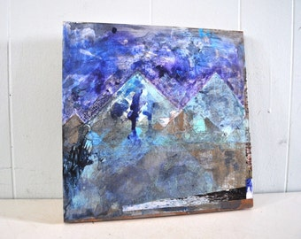 Original Art Painting Mixed Media Collage Upcycled Mountains Triangle Pyramid Geometric Shapes Purple Blues Black Bright Colors 12x12