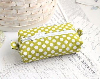 Chartreuse Green Polka Dot Small Boxy Pouch Polka Dot Coin Purse Green Change Purse Credit Card Holder