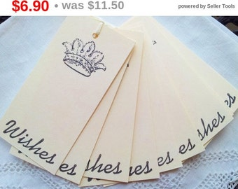 SALE Mini Wedding Wish Tree Tags French Inspired Crown Set of 25