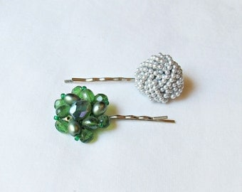 Vintage Hair Pins Bobby Set - Pearl Sequin Retro Grips Barrettes - Green Silver For Women Girls
