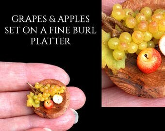 Luxury Grapes & Apples, Wooden Platter - Artisan fully Handmade Miniature in 12th scale. From After Dark miniatures.