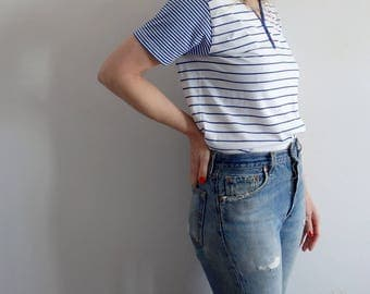 T Shirt Vintage Striped Blue White
