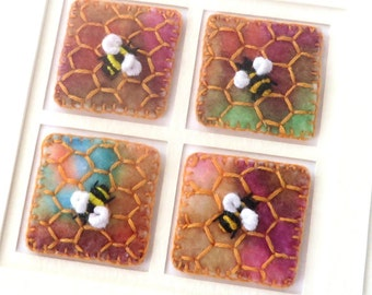 Hand embroidered bumblebee card - 5.5 inch square handmade bee & honeycomb card - fabric inchies art - miniature needlework art for framing
