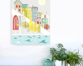 San Francisco Wall Art, Large Skyline Canvas Framed Print, City Skyline, Cityscape illustration, Home Wall decor, Gift for. Style: LCSF1