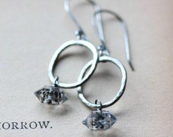 Herkimer Diamond Hoop Earrings Sterling Silver Hammered Silver Hoop Earrings Dangle Drop Earrings