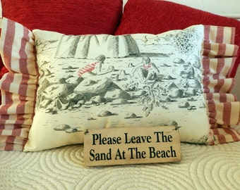 From Paris Delightful Deauville Beach fabric pillow so French and Pink