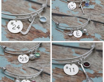 Personalized Sport Bangle, Choose Your Sport, Field Hockey, Lacrosse, Softball, Basketball, Volleyball, Swimming, Hand Stamped Bracelet
