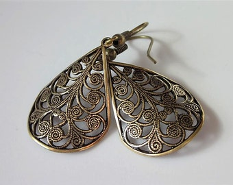 Filigree Earrings, Brass Teardrop, Antiqued Brass Filigree Teardrop, Gift For Her