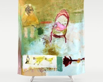 Shower Curtain Art, home decor, from painting, bathroom decor, polyester curtain, colourful, girl and hens, spanish art