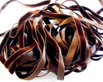 Vintage French Silk Velvet Ribbon 1920's 7/16 inch Gorgeous Dark Sable Brown