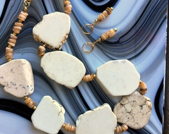 Howlite Slab Gemstones, Heishe Shell Beaded Necklace and Earrings