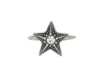"""Ring """"Starla"""" etoile cristal petite fine composable reglable petite taille fine or 18 carats soiree jour de l'an cosmique feerique"""