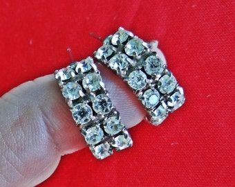 "Vintage silver tone .75""  pierced rhinestone hoop earrings in great condition"