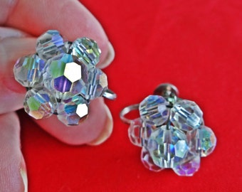 """1950s Vintage .75"""" silver tone clip earrings with aurora borealis coated glass crystal beads in great condition"""