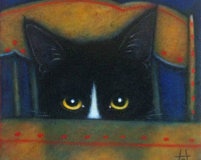 Tuxedo Cat original oil painting. Peeking Charlie