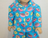 "BIRTHDAY SALE 18 inch doll clothes, Fits 18"" American girl doll, Pajamas, Ready to ship, AG Doll, Flannel, On Sale, Donuts,"