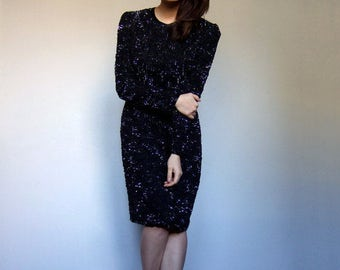 Long Sleeve Sequin Dress Vintage 80s Party Dress Long Sleeve Dress Cocktail Dress Black Sequin Dress - Small to Medium S M