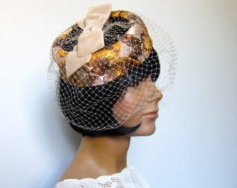 Vintage 60s Hat Earth Tones Metallic Gold Brown Beige Yellow 1960s Hat Birdcage Hat Fascinator Races Hat