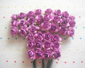 """Lavender Paper Millinery Flowers, Small Sized Roses, 3/4"""" (36)"""