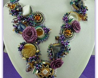 TN-029-2016-122 - Mystique - bead embroidered necklace, bead embroidery, beadwork necklace, beadwoven necklace, beaded necklace