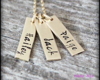 Bar Necklace, Gold Bar Necklace, Hand Stamped Bar Necklace, Gold Hand Stamped Bar Necklace, Rectangle Tag, Vertical Bar Necklace, Mama Mia