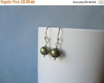 Closing sale Olive pearl 8mm / 0.27'' in,  wire wrapped, silver dangle earrings.