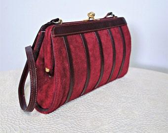 Suede Handbag Maroon Vintage Shoulder Bag Small Purse