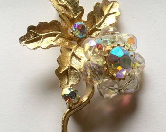 Clearance Crystal Beaded  Flower Brooch Vintage Pin