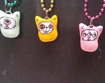 Creature Bunnies,charm necklaces,little weirdlings,fun,cute,Easter