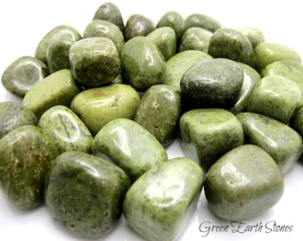 ONE Epidote Tumbled Stone , Attraction, Positive Patterns, Chakra, Green, Mineral, Feng Shui