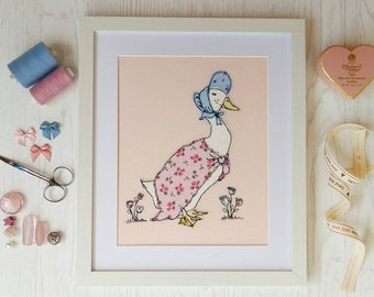Duck Framed Embroidered Picture. Freehand Machine Embroidery with bonnet and shawl
