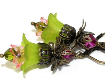 Lucite Flower Earrings - Green and pink Victorian lily - Brass kidney earwires