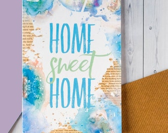 SALE New Home Card - Housewarming Card - Home Sweet Home - Watercolour Design - Blank Cards - Congratulations Card - Welcome Home Card (174)