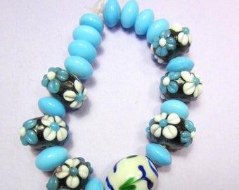 21 Glass Lampwork beads aqua blue black Muliti shapes sizes destash lot beads (SB1)