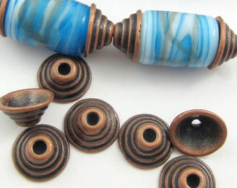 30 Antique copper bead caps ethnic jewelry spacer beads ribbed bead caps necklace making supplies 11mm x 3mm dark copper bead caps A18-(V2)