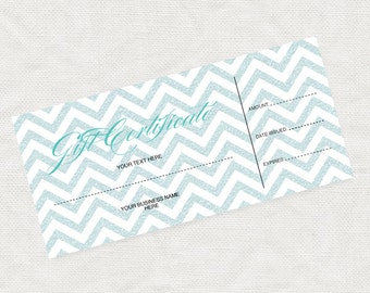 printable gift certificate turquoise glitter chevron, business marketing promotion download editable file or last minute gift idea christmas