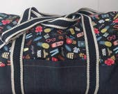 READY TO SHIP The adventurer overnight bag in Rifle Paper Co Bon Voyage Fabric